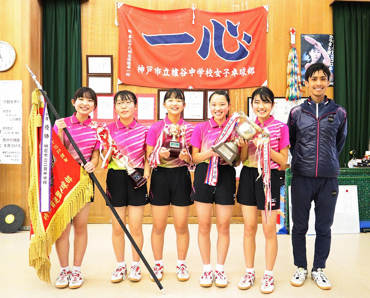 記事 櫨谷中学校女子卓球部「県中学校卓球新人大会」団体の部優勝のアイキャッチ画像